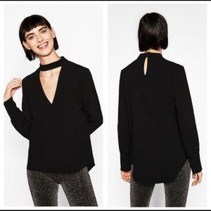 NWT Black Zara Blouse sz M